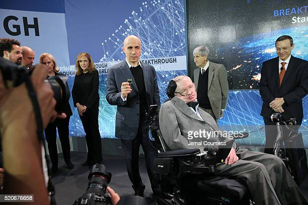 Scientist and investor Yuri Milner holds up a prototype of the Star Chip a small robotic space craft that will enable intersteller space travel as he...