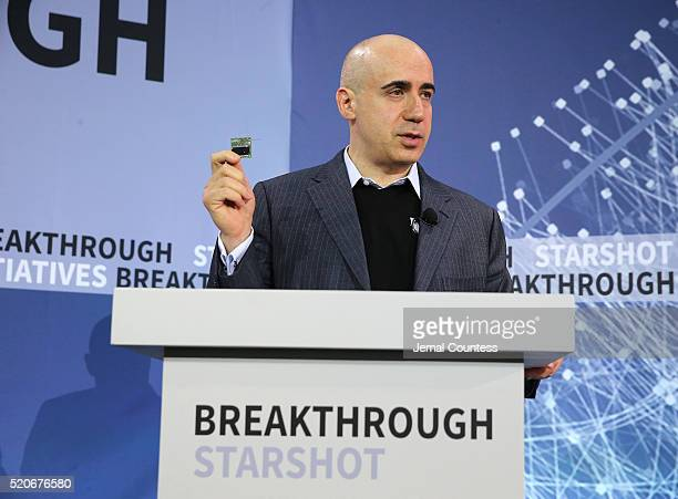 Scientist and investor Yuri Milner speaks during the New Space Exploration Initiative 'Breakthrough Starshot' Announcement at One World Observatory...