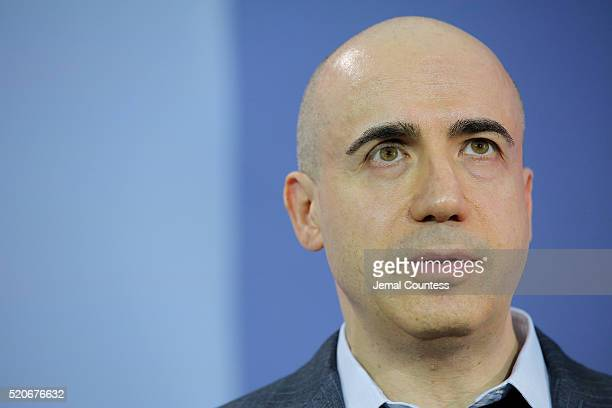 Scientist and investor Yuri Milner speaks during the New Space Exploration Initiative Breakthrough Starshot Announcement at One World Observatory on...