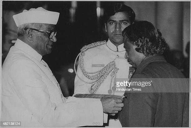 Scientist APJ Abdul Kalam receiving Padma Bhushan Award from President Neelam Sanjiva Reddy on March 28 1981 in New Delhi India Avul Pakir...