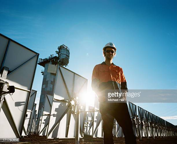 Scientist at solar thermal research facility