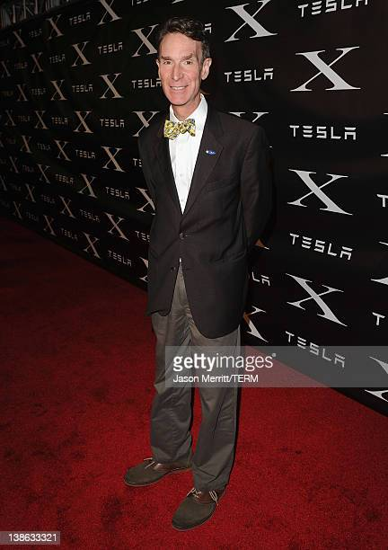 Scientist Bill Nye arrives at Tesla Worldwide Debut of Model X on February 9 2012 in Los Angeles California