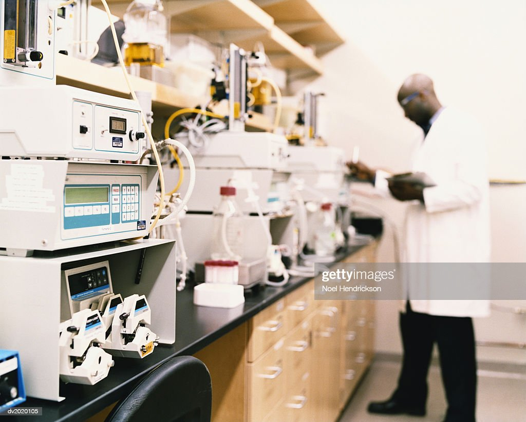 Scientist Checking Experiments in a Lab : Stock Photo
