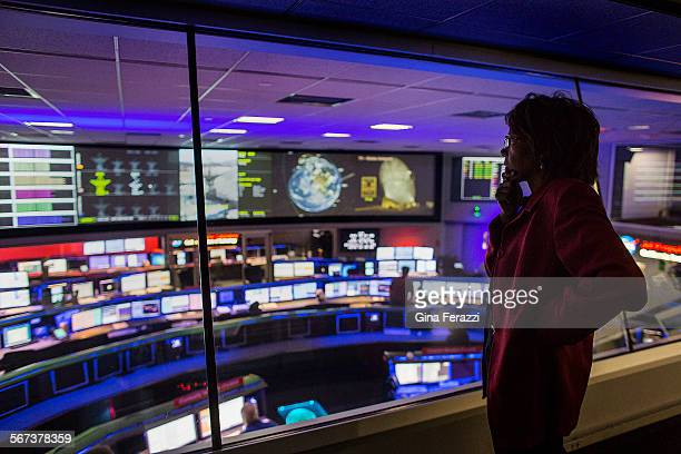 JPL scientist Claudia Alexander on the view deck at Mission Control is NASA's point person for the Rosetta mission on October 30 2014 in Pasadena...