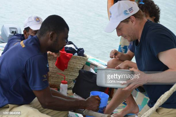 A scientist collects samples of the ocean water to be tested from micro plastics during the ongoing 'Zanzibar' Expedition in Kenya The 'Zanzibar'...