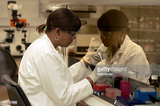 –Scientist Dixie Shurland working in her the lab at Allergan in Irvine Allergan has grown from an eyecare company into a cutting–edge beauty/pharma...