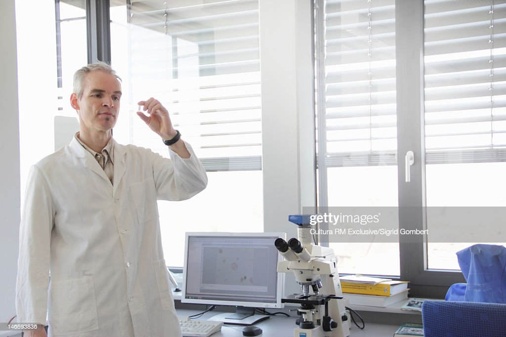 Scientist examining test tube in lab : Stock Photo