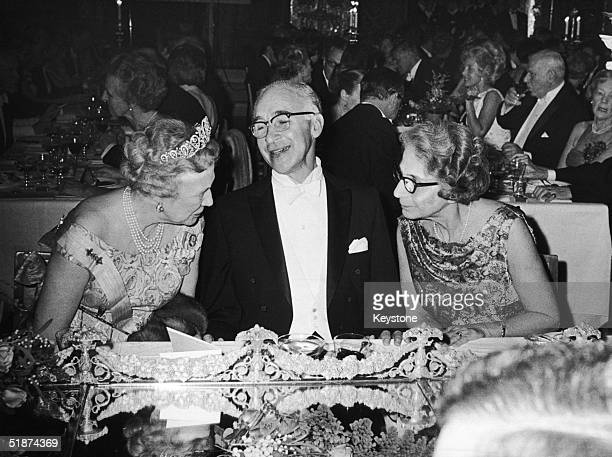 Scientist George Wald attends a banquet in Stockholm City Hall, after jointly receiving the 1967 Nobel Prize in Medicine, 10th December 1967....