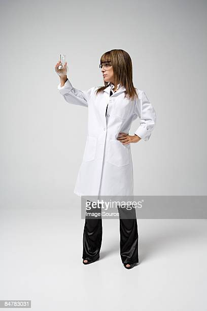 Scientist holding flask
