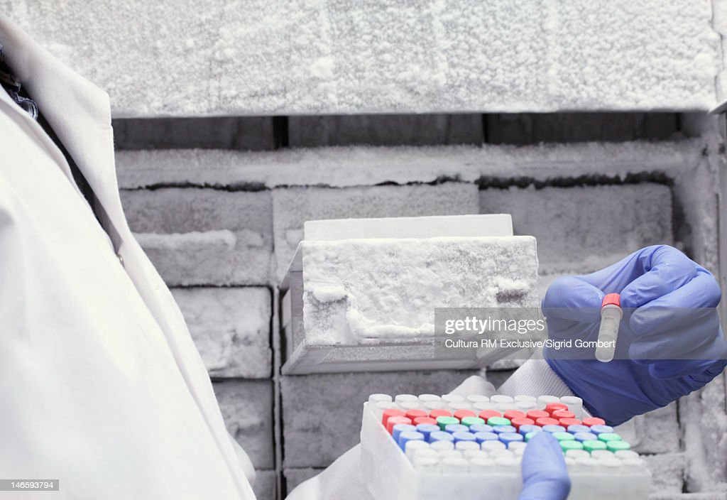 Scientist holding rack of test tubes : Stock Photo