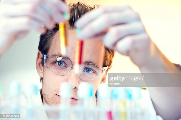 scientist in laboratory - red tube stock pictures, royalty-free photos & images