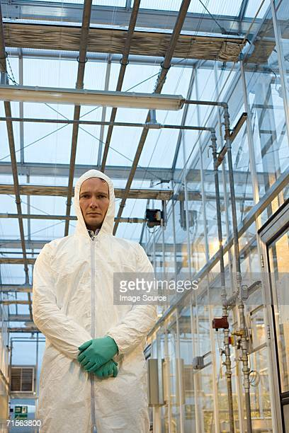 Scientist in protective suit