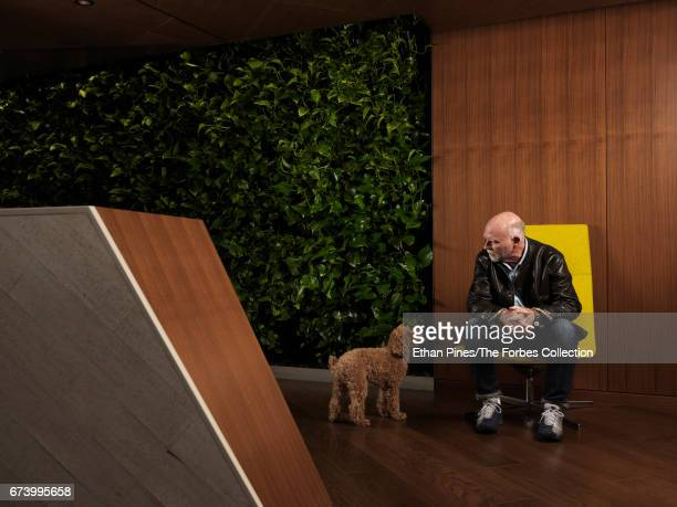 Scientist J Craig Venter is photographed with his dog Darwin for Forbes Magazine on January 27 2017 in the Human Longevity offices in Mountain View...