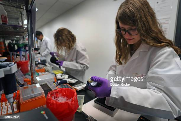 Scientist Jess Miller right works in the lab at Confer Health in the Charlestown neighborhood of Boston on April 4 2018 Confer Health is a startup...