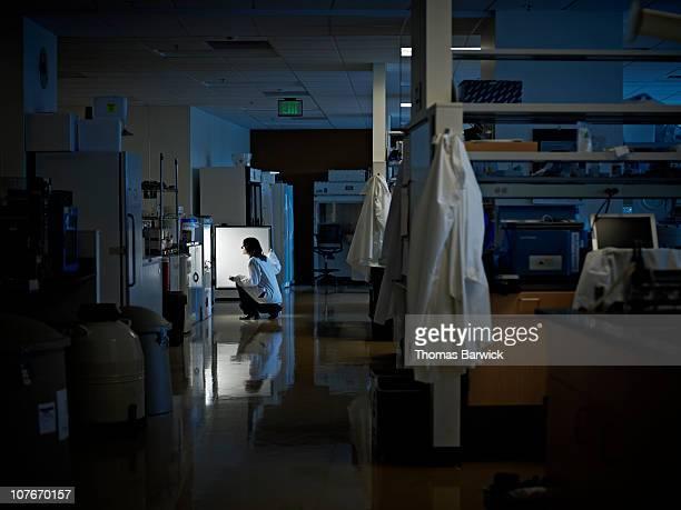 scientist looking in refrigerator in research lab - 検査業務 開始の地 ストックフォトと画像