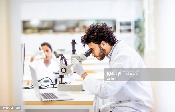 scientist looking through a microscope - microbiologist stock pictures, royalty-free photos & images