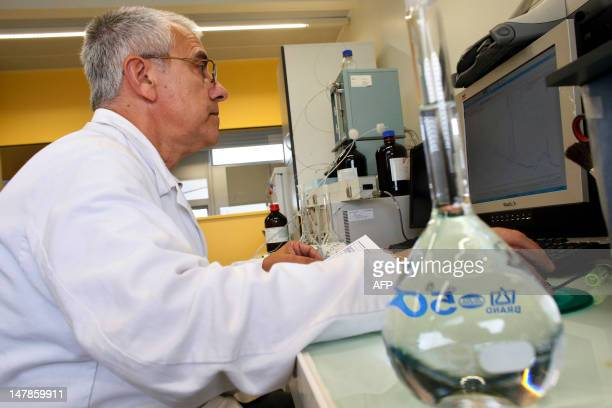 A scientist looks for traces of pesticides in water on July 5 in the organic chemistry unit of the Laboratoire Eau de Paris a Paris municipal water...