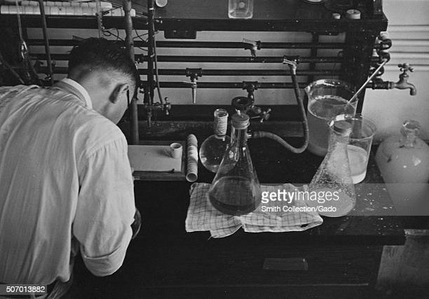 Scientist running experiments with flasks in a potato laboratory at the USDA Beltsville Maryland 1935 From the New York Public Library