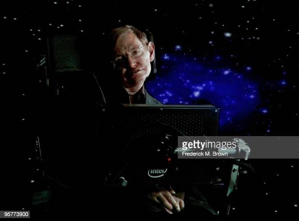 """Scientist Stephen Hawking of """"Into The Universe With Stephen Hawking"""" speaks via satellite during the Science Channel portion of the 2010 Television..."""