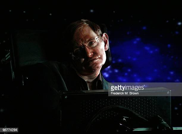 Scientist Stephen Hawking of Into The Universe With Stephen Hawking speaks via satellite during the Science Channel portion of the 2010 Television...