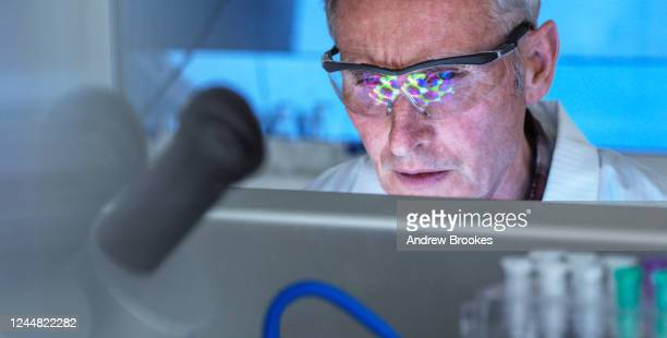 scientist using a 3d molecular structure on screen, researching potential covid-19 drug in the laboratory. medical and clinical trials. - laboratory stock pictures, royalty-free photos & images