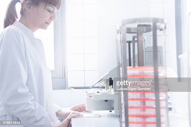 scientist using equipment in lab - sigrid gombert stock-fotos und bilder