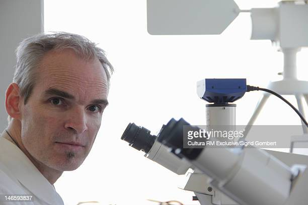 scientist using microscope in lab - sigrid gombert stock pictures, royalty-free photos & images