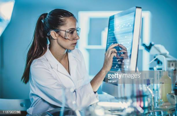 scientist working in the laboratory, using touch screen - technician stock pictures, royalty-free photos & images