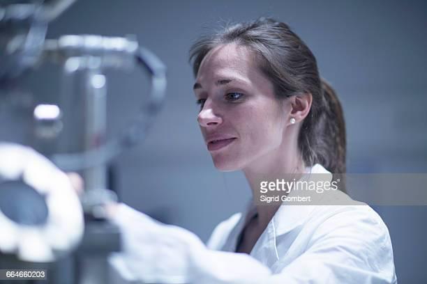 scientist working with sem microscope - sigrid gombert stockfoto's en -beelden