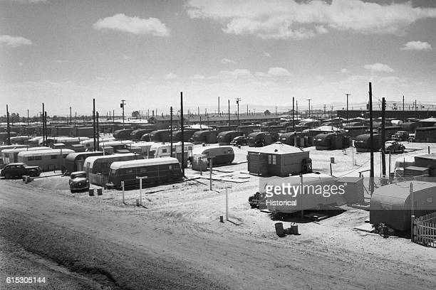 Scientists and other workers at Los Alamos National Laboratory are housed in residential areas such as this trailer park in the 1940s and 1950s