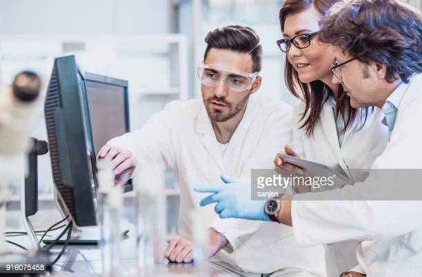 scientists discussing in the laboratory, using computer - place of research stock pictures, royalty-free photos & images