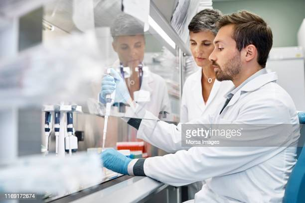 scientists doing cancer research in laboratory - besmettelijke ziekte stockfoto's en -beelden