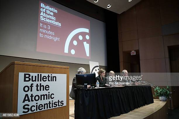 Scientists from the group Bulletin of the Atomic Scientists speak during a press conference after updating the ÒDoomsday ClockÓ January 22 2015 in...