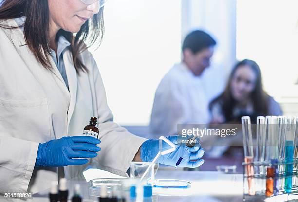 Scientists Placing Reagents into a Petri Dish