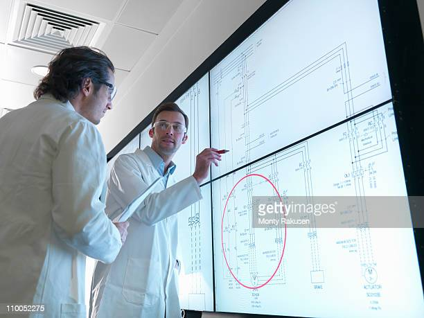 Scientists with diagrams on screen