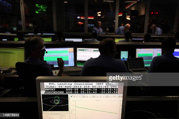 Scientists work inside the Spaceflight Operations Facility for NASA's Mars Science Laboratory Curiosity rover at Jet Propulsion Laboratory on August...