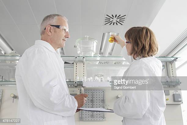 scientists working in laboratory, looking at yellow liquid in vial - sigrid gombert stock pictures, royalty-free photos & images