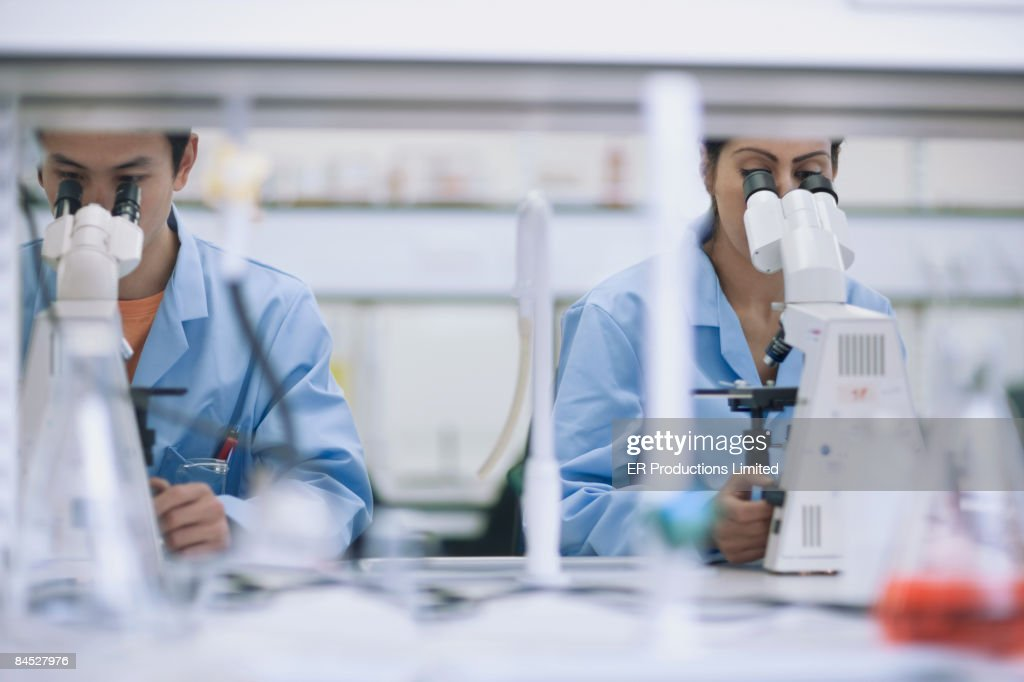 Scientists working in laboratory with microscopes : Stock Photo
