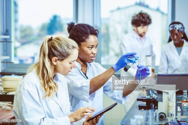 scientists working in the laboratory - blood cells stock photos and pictures