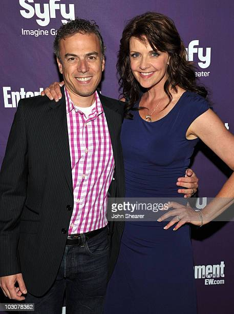 SciFi Channel Executive Vice President of Programming Mark Stern and actress Amanda Tapping attend the EW and SyFy party during ComicCon 2010 at...