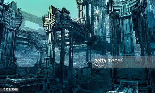 sci-fi city, 3d fractal art - science fiction film stock pictures, royalty-free photos & images