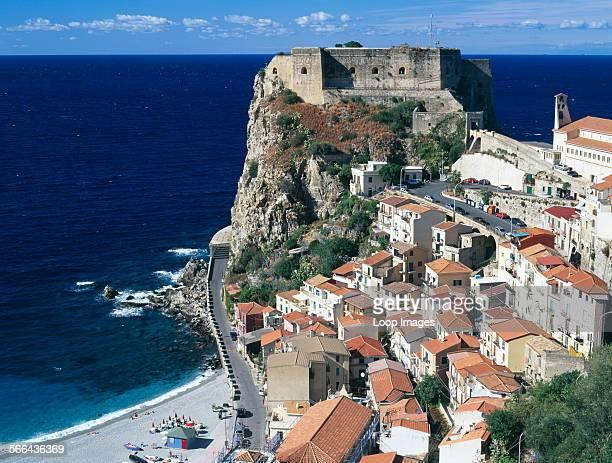 Scilla Town view with Castello Ruffo