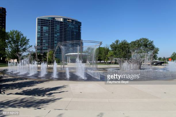 Scioto Mile Fountain in Bicentennial Park on May 18 2014 in Columbus Ohio