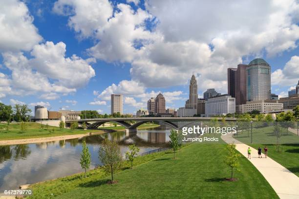 Scioto Mile Park and skyline, Downtown Columbus, Ohio, USA.