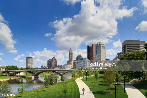 Scioto Mile Park and skyline Downtown Columbus Ohio USA
