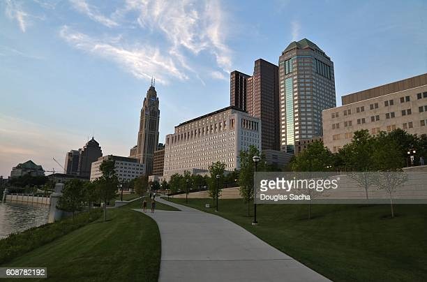 Scioto Mile Parkland connecting the Riverfront to Downtown Columbus