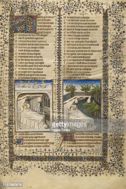 Scipio Lying in Bed Dreaming Guillaume de Lorris Lying in Bed Dreaming Unknown Paris France Europe about 1405 Tempera colors gold leaf and ink on...