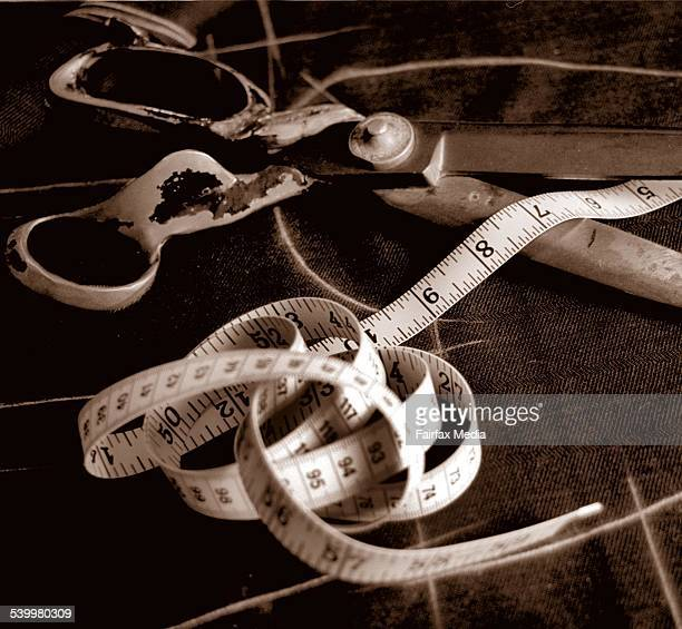 Scissors and measuring tape from Zink tailoring on Oxford Street 1 October 1997 AFR Picture by JESSICA HROMAS
