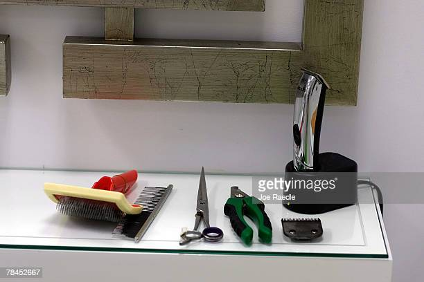 Scissors clippers brush and clippers are ready for use at the Salon and Spa in the Chateau Poochie the luxury hotel for dogs and cats December 13...