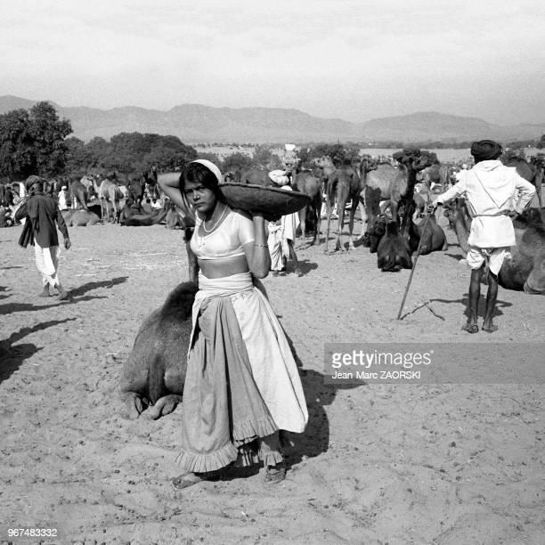 Scène de vie quotidienne le 27 novembre 1982 à Pushkar au Rajasthan Inde